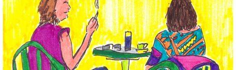 Die, Sylviane au café avec une amie - dessin JTF