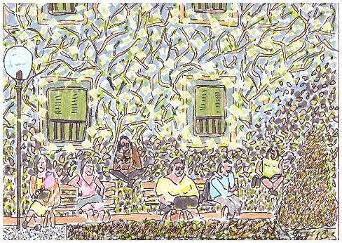 Paris, premier soleil de mars au square Le Gall à Paris - dessin JTF