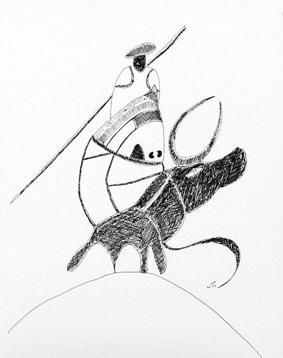 Le Picador, le cheval et le taureau, étude - dessin JTF