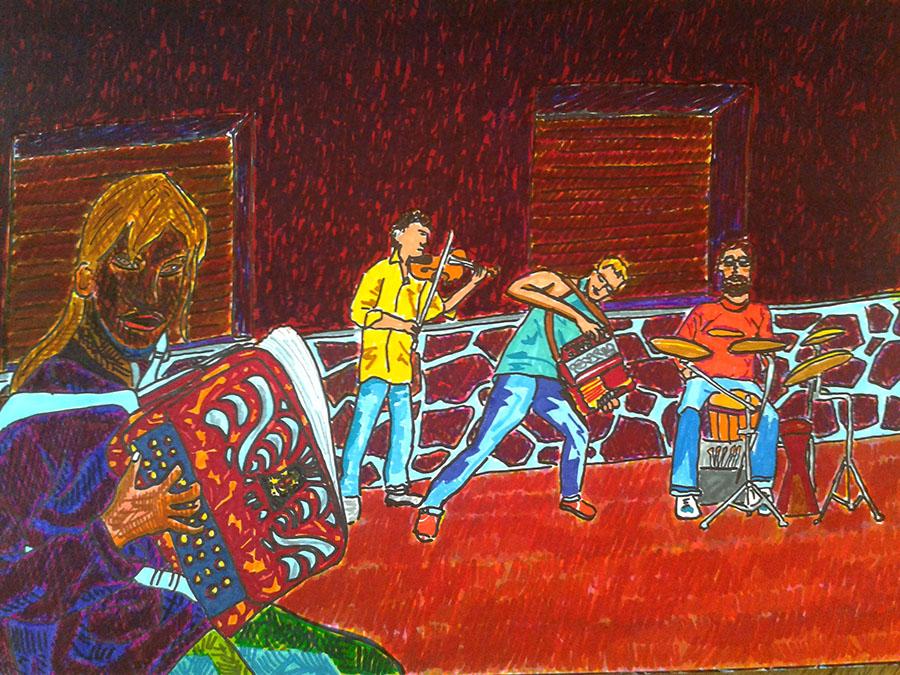 La petite accordéoniste et les musiciens belges, Die - dessin JTF