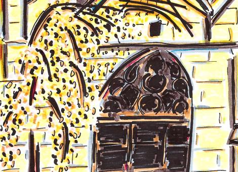 L'arbre et le cadran solaire de l'église Saint-Médard