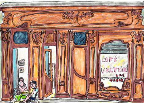 Laurence devant son café, Le Voltaire