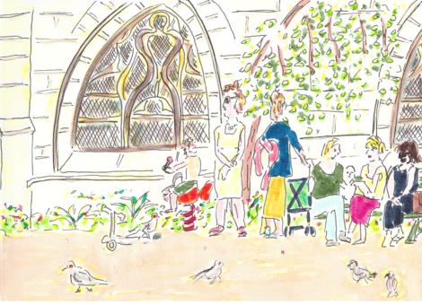 Le jardin, mamans, enfants et pigeons devant l'église.