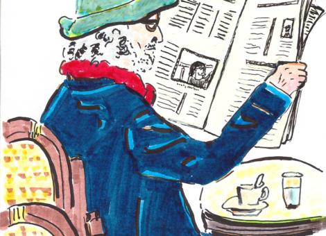 Publicitaire à la retraite au café au petit matin
