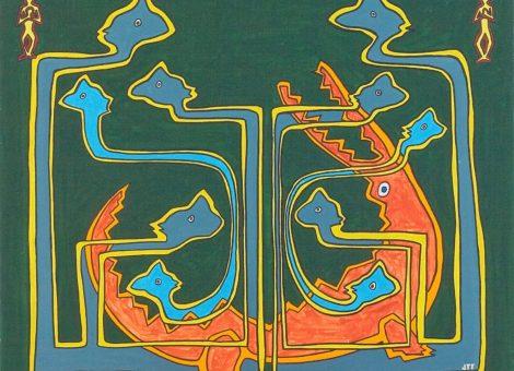 La pintade et le caïman - Rakanga et Ravoay. Un tableau, un conte.