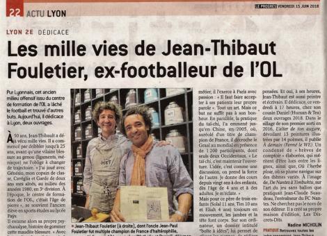 """Interview dans """"Le Progrès"""" de Lyon en 2018"""